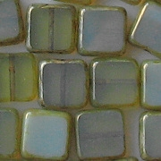 10mm Olive/Aqua Picasso Polished Flat Square Beads [10]