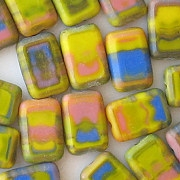 12mm Impressionistic Mixed Polished Rectangle Beads [20]