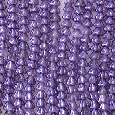 5x6mm Purple Coated Bell Flower Beads [50]