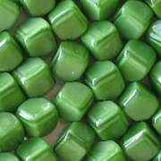8mm Opaque Green Diagonal Cube Beads [50]