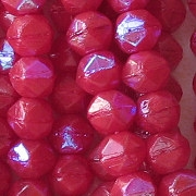 6mm Opaque Red AB Angular Beads [50]