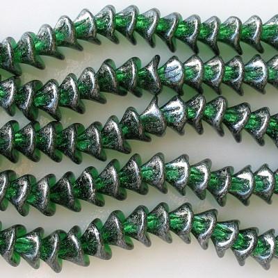 10x12mm Green/Silver Luster 3-Petal Flower Beads [25]