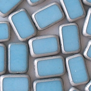 12mm Baby Blue/Silver Polished Rectangle Beads [20]