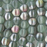 5mm Bottle Green AB Matte Fluted Beads [100]