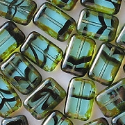 12mm Aqua Tortoise Picasso Polished Rectangle Beads [20]