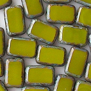 12mm Avocado Picasso Polished Rectangle Beads [20]