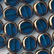 10mm Dark Aqua Bronze Polished Oval Beads [20]