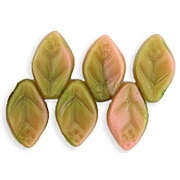 12mm Coral Pink/Olive Green Leaf Beads [50]