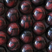 10mm Red/Black Tiger Round Beads [25]