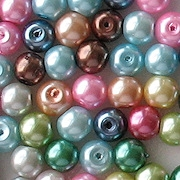 6mm Mixed-Color Chinese Glass Pearls [50]