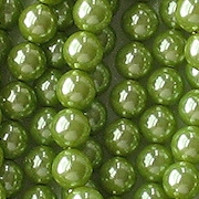 6mm Olive Green Round Glass Pearls [75]