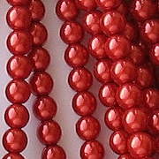 4mm Hyacinth Red Round Glass Pearls [118+]