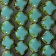 9mm Turquoise Picasso Polished Diamond Oval Beads [20]