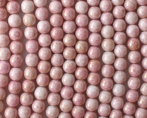 6mm Light Pink Gold Luster Round Beads [50]
