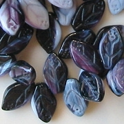12mm Amethyst 'Slag Glass' Leaf Beads [50]