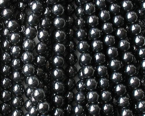 6mm Hematite-Colored Round Glass Beads [50]
