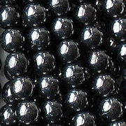 6mm Hematite-Colored Round Glass Beads [50]