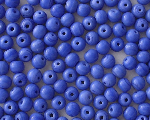 7mm Opaque Blue Round Beads [50]