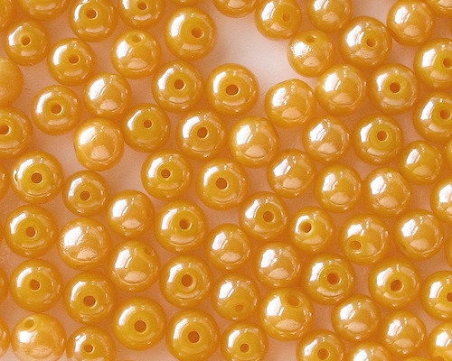 7-8mm Bright Milky Yellow Luster Round Beads [40] (see Comments)