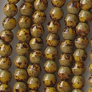 4mm Mustard Yellow with Brown Picasso Round Beads [100]