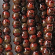 4mm Red with Brown Picasso Beads [100]