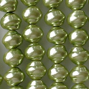 7x8mm Light Lime Green Snail-Shell Glass Pearls [50] (see Defects)