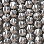 5mm Silver-Colored Glass Fluted Beads [100]