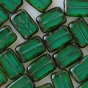 12mm Emerald-Teal Picasso Polished Rectangle Beads [20]