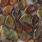 12mm 'Autumn' Multicolored Leaf Beads [25]