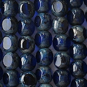 6mm Cobalt Picasso 3-Cut Round Beads [50]