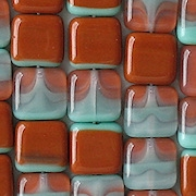 9mm Turquoise/Brown Umber Square Beads [50] (see Defects)