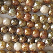 4mm Brown Mixed Picasso Luster Round Beads [100]