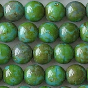 8mm Turquoise/Green Picasso Beads [25]