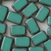 12mm Greenish-Turquoise/Gray Picasso Polished Rectangle Beads [20]