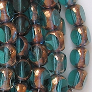 8mm Teal/Bronze 3-Cut Round Beads [25]