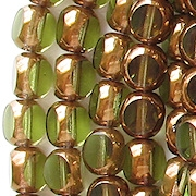 8mm Olive Green Bronze 3-Cut Round Beads [25]