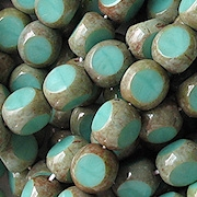8mm Turquoise Picasso 3-Cut Beads [25]
