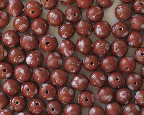 10mm Brown Umber with Flower Round Beads [20]
