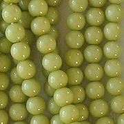 4mm Opaque Light Olive Green Coated  Beads [118+]