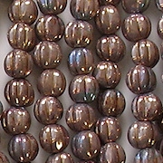 5mm Smokey Bronze Fluted Beads [100]
