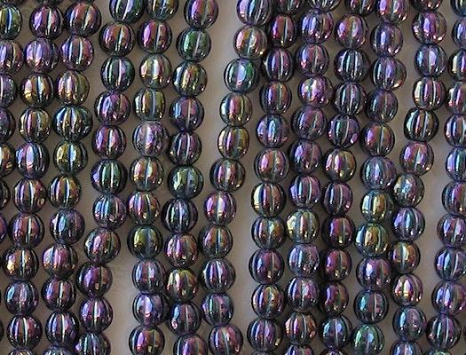 5mm Dark Purple Iris Fluted Beads [100]