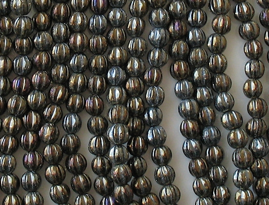 5mm Dark Brown Iris Fluted Beads [100]