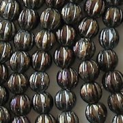 5mm Dark Brown Iris Fluted Beads [100]