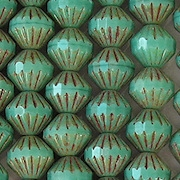 8mm Turquoise Picasso Fluted Saucer Beads [25]