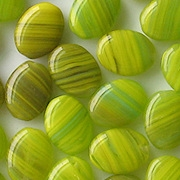 12mm Lime Striped Flat Oval Beads [50] (see Defects)
