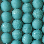 8mm Bluish-Turquoise Stone-Finished Round Beads [25]