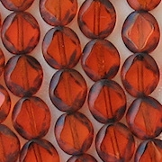 9mm Orange Polished Diamond Oval Beads [20]