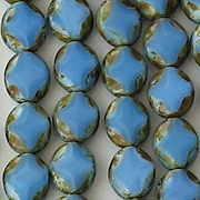 9mm Blue Satin Picasso Polished Diamond Oval Beads [20]