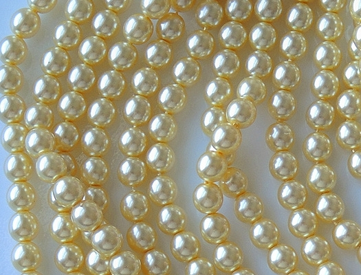 6mm Yellow Round Glass Pearls (75) (see Comments)