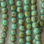 4mm Turquoise Picasso Round Beads [100]